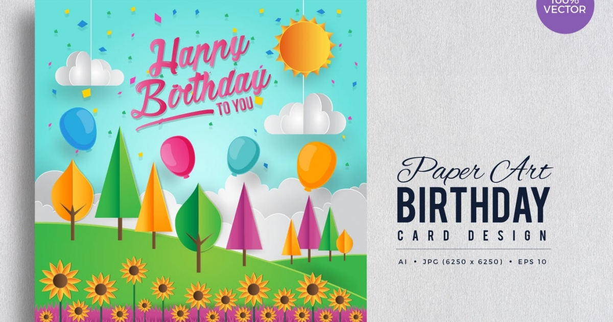 Astdafa Com Happy Birthday Vector Card Vol 4 Paper Art